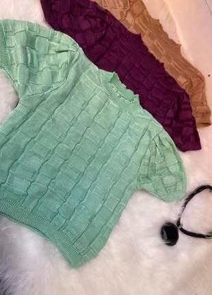 Blusa cropped feminino trico fio raiom manga cruta bufante estilo mulher.