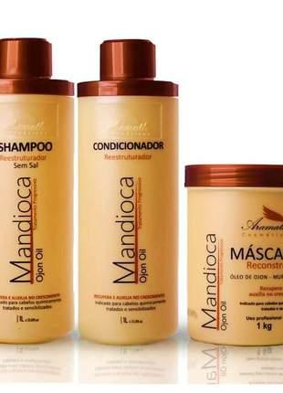 Kit aramath mandioca ojon oil profissional pós quimica