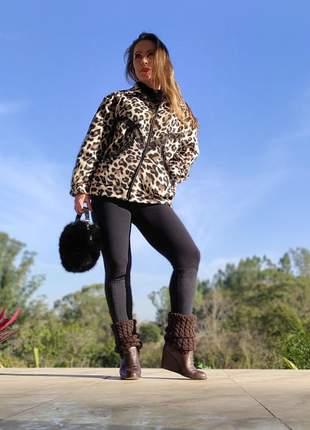 Casaco (jaqueta) de fleece, com zíper. print animal (onça). modelo exclusivo