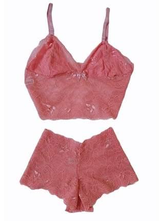 Conjunto lingerie plus size dolce sedutti renda cropped rose