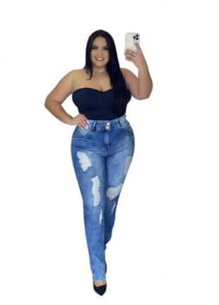 Calça jeans plus size dolce sedutti destroyed azul claro 117