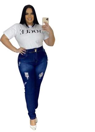 Calça jeans dolce sedutti plus detroyed azul marinho 118