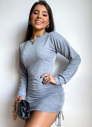 Vestido blusa blusão feminino moletom manga longa + brinde51