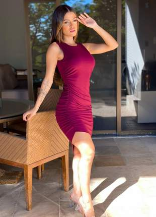 Vestido canelado midi de alcinha tubinho mullet + brinde59
