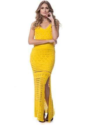Vestido longo amarelo de tricot