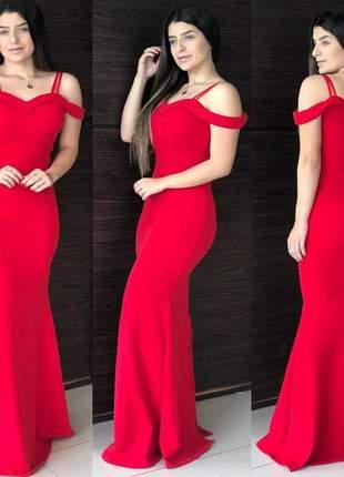 Vestido feminino longo de festa vermelho bojo sereia ombro a ombro promoçao