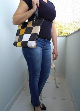 Bolsa couro legitimo tipo bag em patchwork feita artesanalmente direto de fabrica