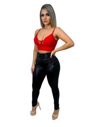 Calça feminina leg cirrê disco com cinto e fivela + brinde98