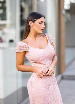 Vestido madrinha rendado rose