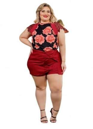 Conjunto plus size dolce sedutti blusa com renda shorts