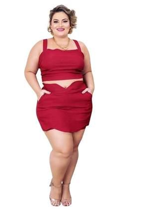 Conjunto plus size dolce sedutti cropped shorts saia
