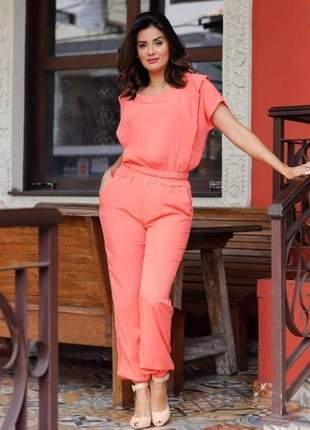 Conjunto de viscolinho calça e blusa estruturada