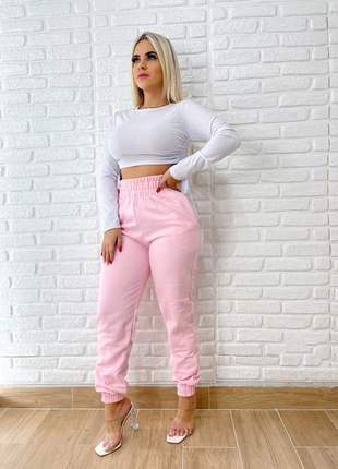 Calça jogger de moletom feminina cintura alta + brinde155