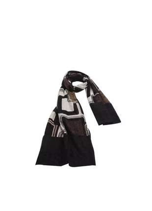 Cachecol quadrados abstratos preto, marrom e bege.