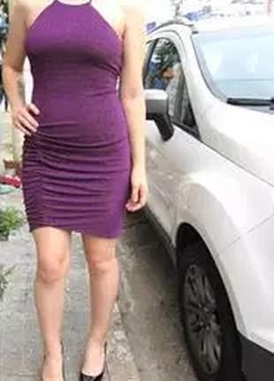 Vestido curto de lurex.
