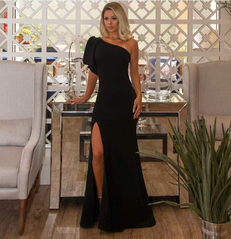 Vestido De Festa Longo De Um Ombro So Preto Com Fenda R 16000 Shafa O Melhor Da Moda Feminina