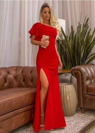 61be6f6b5b Vestido de festa longo vermelho de um ombro fenda - R  160.00 (longo ...