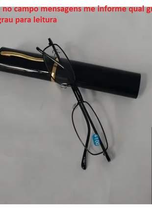 1 pç armação preta óculos grau +1,0 até 4 leitura c/estojo caneta