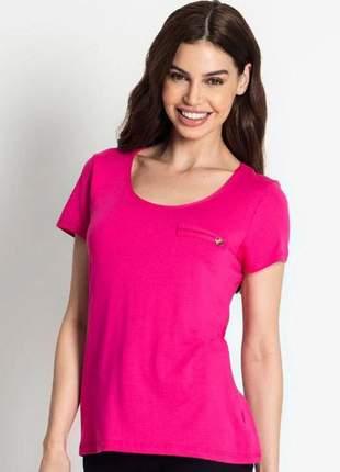 Blusa feminina pink manga curta básica lisa fresca moda 915195558