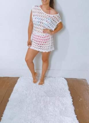 Saida de praia canga moda praia curtindo roupa feminina saída tricot trico vestidinnho