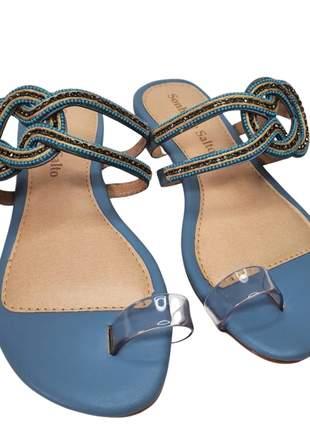 Sandália rasteira feminina couro com brilho