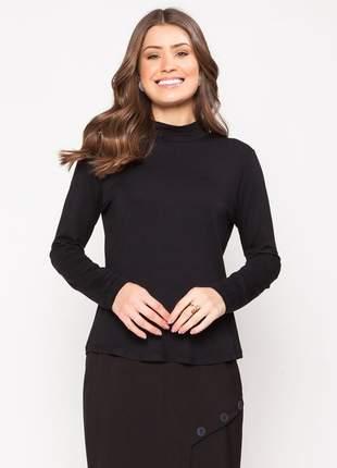 Blusa manga longa com gola alta modelagem lisa preto - 11598