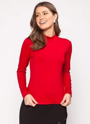 Blusa manga longa com gola alta modelagem lisa vermelho - 11598