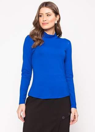 Blusa manga longa com gola alta modelagem lisa azul - 11598
