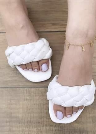 Sandália rasteira feminina trança acolchoada confortável