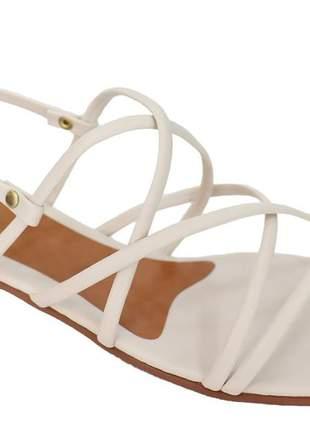 Sandália feminina tiras off white raquel dias neutra básica casual leve  t601022