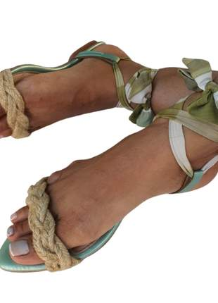 Sandália feminina rasteirinha espadrille de amarrar