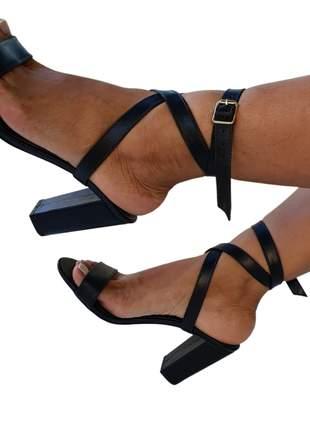 Sandália feminino salto alto bloco quadrado grosso tiras