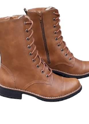 Coturno feminino bota botinha caramelo cano médio salto baixo lançamento
