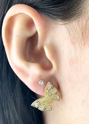 Brinco borboleta cravejada de pequenas zircônias cristais semijoia anti alérgica