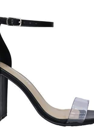 Sandália salto salto preta feminina transparência via marte 2115008