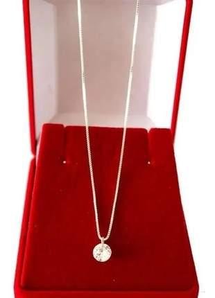 Colar cordão prata 925 veneziana feminino pingente ponto luz