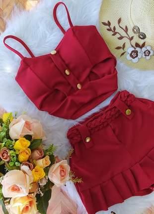 Conjunto feminino short saia cropped com bojo malha grossa c02
