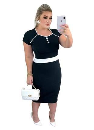 Vestido feminino midi tubinho roupas femininas ref 753
