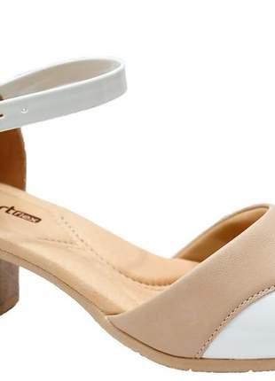Sandália salto bloco nude feminina comfortflex 2157404