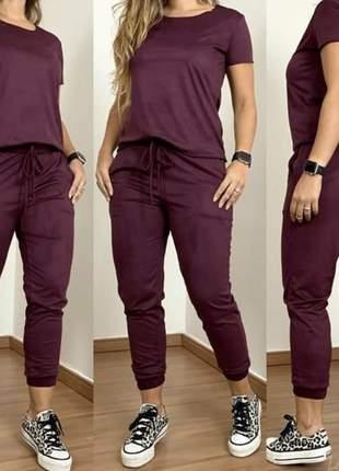 Conjunto feminino calça e blusa manga curta