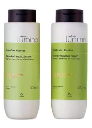 Kit shampoo + condicionador cabelos oleosos natura lumina 300ml