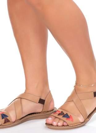 Sandalia em couro rasteira roma shoes rasteirinha retrô indiana antiderrapante confort