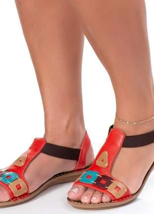 Sandalia em couro rasteira roma shoes rasteirinha retrô indiana antiderrapante confortavel