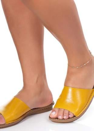 Sandalia em couro rasteira rasteirinha retrô chinelo tamanco verão colors antiderrapante