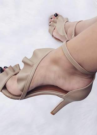 Sandália nude babado tiras fun store salto 9 cm confortável