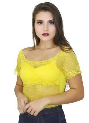 Top cropped ciganinha de renda panicat juju ref: 381(amarelo)
