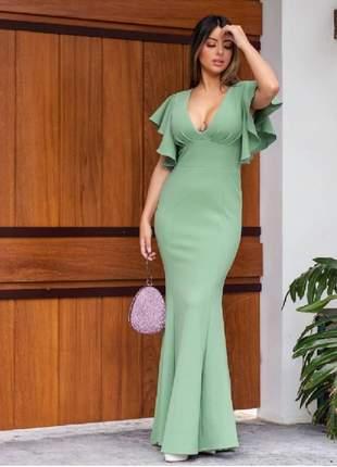 Vestido de festa verde claro menta madrinha casamento batizado
