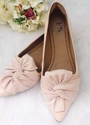 Sapatilha rosa fun store lace laço bico fino confortavel verniz