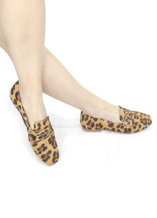 Loafer couro adriana animal print