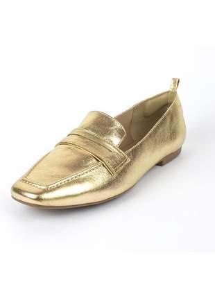 Loafer couro adriana dourado